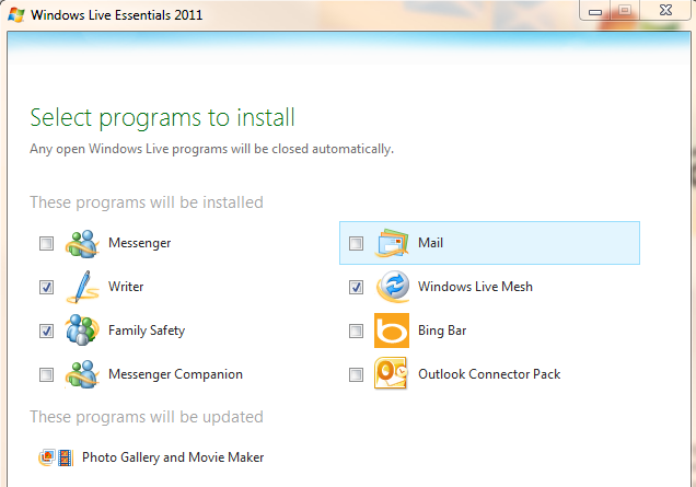 My example installation of Live Essentials 2011